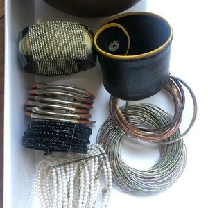 Collection of bracelets. Bangles and cuffs.